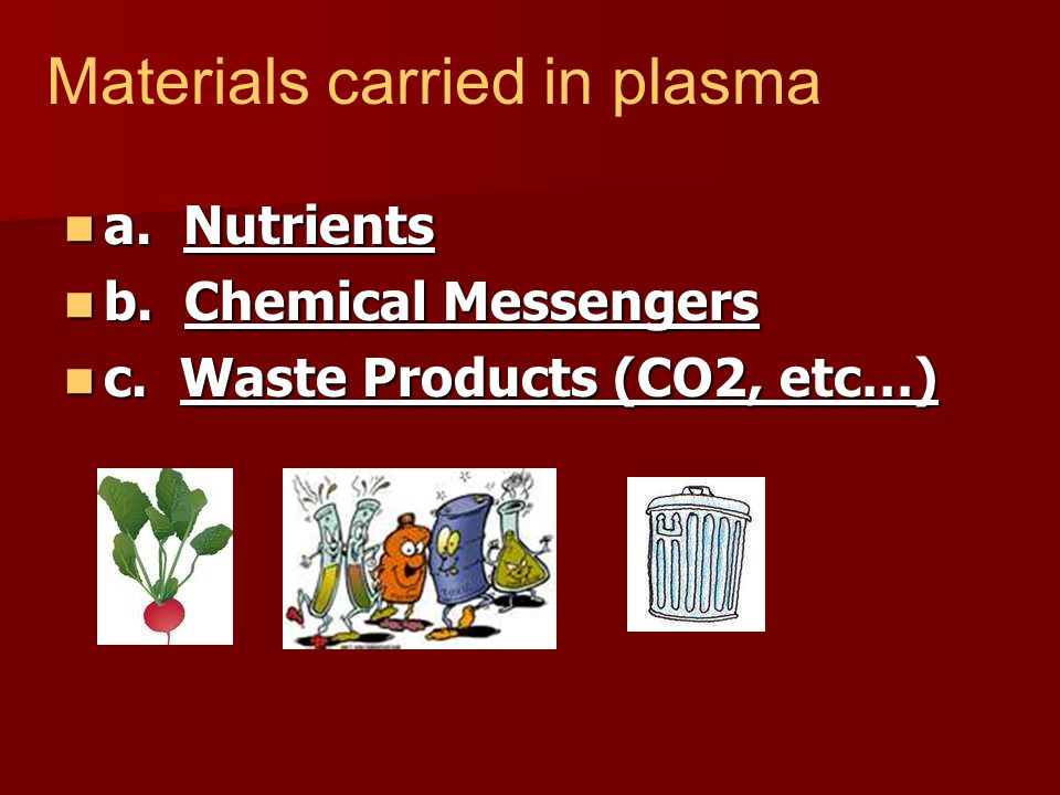 a. Nutrients a. Nutrients b. Chemical Messengers b. Chemical Messengers c. Waste Products (CO2, etc…) c. Waste Products (CO2, etc…) Materials carried