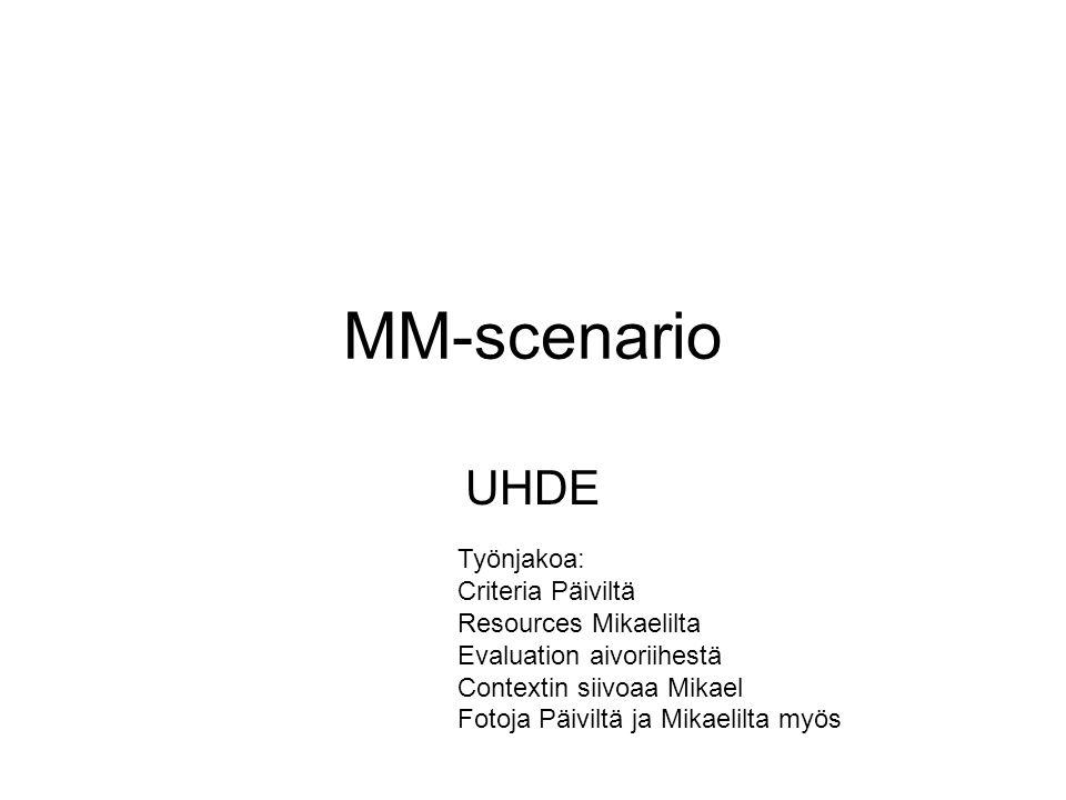 MM-scenario UHDE Työnjakoa: Criteria Päiviltä Resources Mikaelilta Evaluation aivoriihestä Contextin siivoaa Mikael Fotoja Päiviltä ja Mikaelilta myös