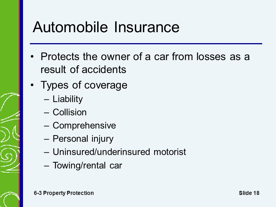 Slide 18 Automobile Insurance Protects the owner of a car from losses as a result of accidents Types of coverage –Liability –Collision –Comprehensive –Personal injury –Uninsured/underinsured motorist –Towing/rental car 6-3 Property Protection