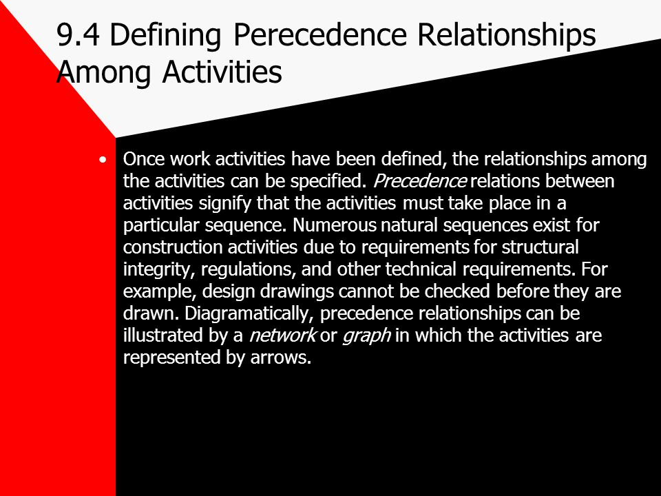 9.4 Defining Perecedence Relationships Among Activities Once work activities have been defined, the relationships among the activities can be specifie