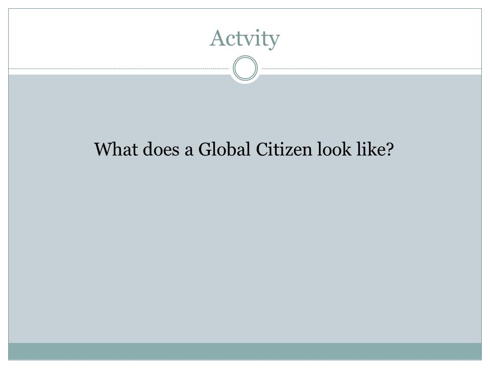 Actvity What does a Global Citizen look like?