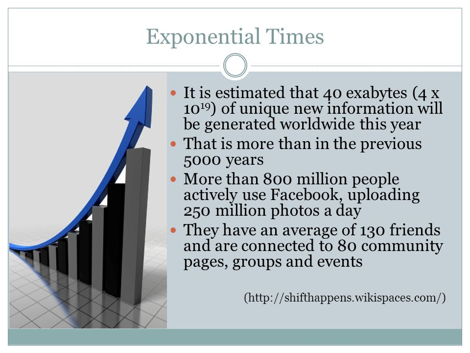 Exponential Times It is estimated that 40 exabytes (4 x 10 19 ) of unique new information will be generated worldwide this year That is more than in t