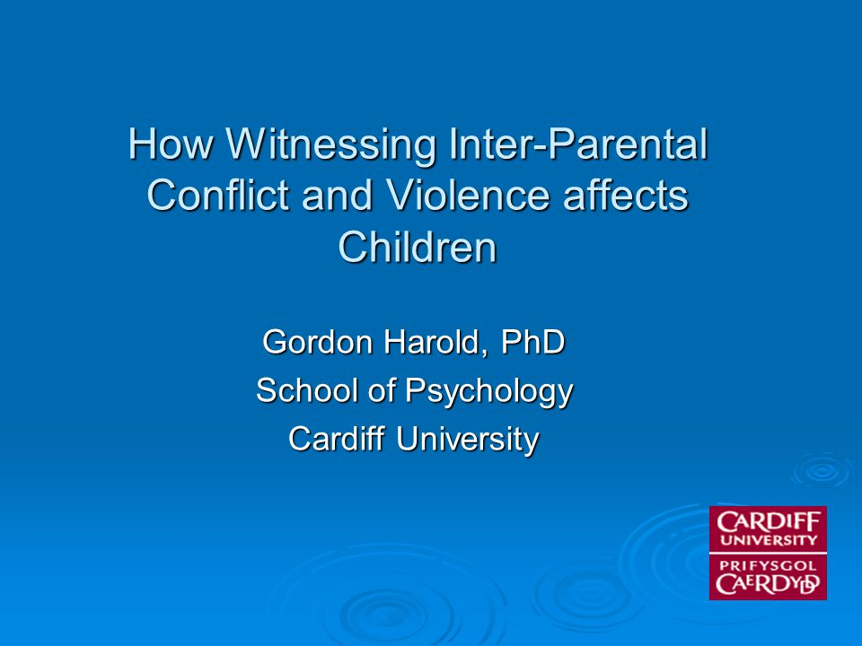Inter-Parental Conflict and Children's Academic Attainment: A Longitudinal Analysis Harold, G.T., Aitken, J., Shelton, K.H.