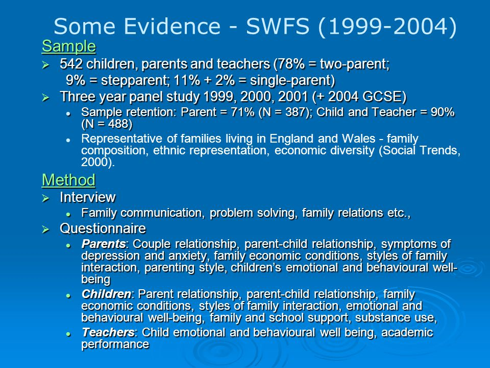 Some Evidence - SWFS (1999-2004) Sample  542 children, parents and teachers (78% = two-parent; 9% = stepparent; 11% + 2% = single-parent)  Three year panel study 1999, 2000, 2001 (+ 2004 GCSE) Sample retention: Parent = 71% (N = 387); Child and Teacher = 90% (N = 488) Sample retention: Parent = 71% (N = 387); Child and Teacher = 90% (N = 488) Representative of families living in England and Wales - family composition, ethnic representation, economic diversity (Social Trends, 2000).Method  Interview Family communication, problem solving, family relations etc., Family communication, problem solving, family relations etc.,  Questionnaire Parents: Couple relationship, parent-child relationship, symptoms of depression and anxiety, family economic conditions, styles of family interaction, parenting style, children's emotional and behavioural well- being Parents: Couple relationship, parent-child relationship, symptoms of depression and anxiety, family economic conditions, styles of family interaction, parenting style, children's emotional and behavioural well- being Children: Parent relationship, parent-child relationship, family economic conditions, styles of family interaction, emotional and behavioural well-being, family and school support, substance use, Children: Parent relationship, parent-child relationship, family economic conditions, styles of family interaction, emotional and behavioural well-being, family and school support, substance use, Teachers: Child emotional and behavioural well being, academic performance Teachers: Child emotional and behavioural well being, academic performance