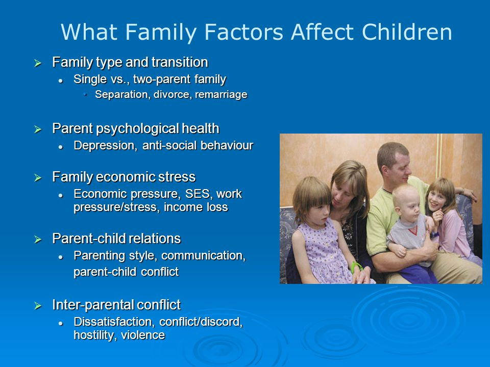 What Family Factors Affect Children  Family type and transition Single vs., two-parent family Single vs., two-parent family Separation, divorce, remarriageSeparation, divorce, remarriage  Parent psychological health Depression, anti-social behaviour Depression, anti-social behaviour  Family economic stress Economic pressure, SES, work pressure/stress, income loss Economic pressure, SES, work pressure/stress, income loss  Parent-child relations Parenting style, communication, Parenting style, communication, parent-child conflict  Inter-parental conflict Dissatisfaction, conflict/discord, hostility, violence Dissatisfaction, conflict/discord, hostility, violence