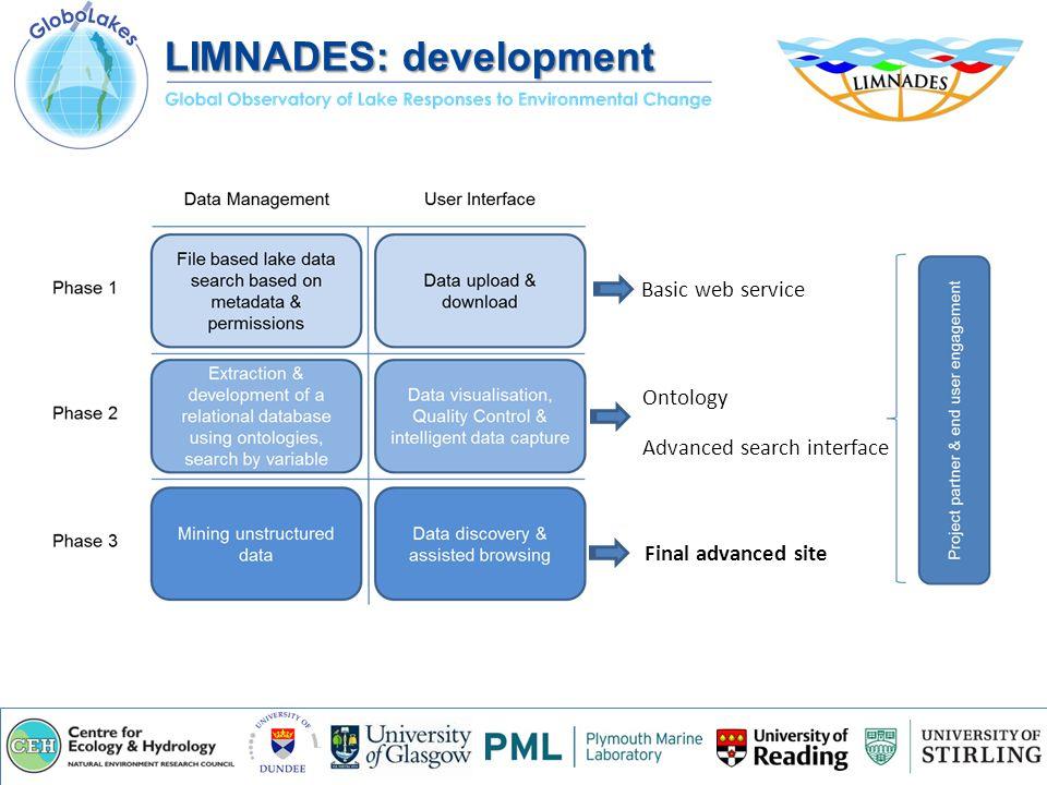 Basic web service Ontology Advanced search interface Final advanced site LIMNADES: development