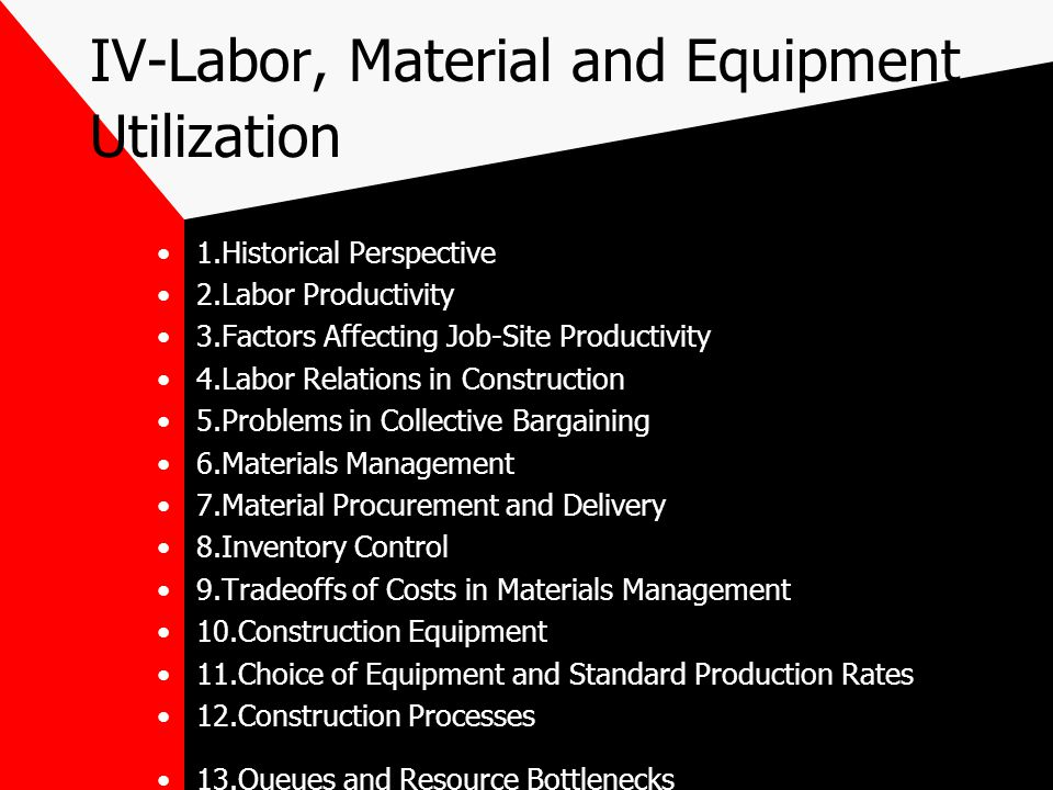 IV-Labor, Material and Equipment Utilization 1.Historical Perspective 2.Labor Productivity 3.Factors Affecting Job-Site Productivity 4.Labor Relations