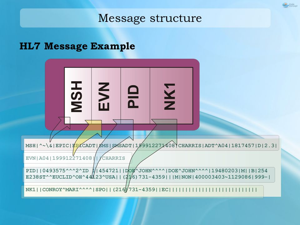 Message structure HL7 Message Example