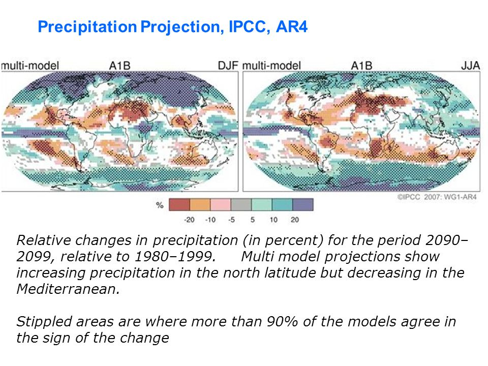 Relative changes in precipitation (in percent) for the period 2090– 2099, relative to 1980–1999.