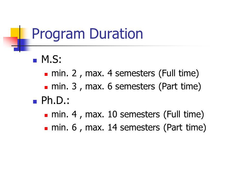 Program Duration M.S: min. 2, max. 4 semesters (Full time) min. 3, max. 6 semesters (Part time) Ph.D.: min. 4, max. 10 semesters (Full time) min. 6, m