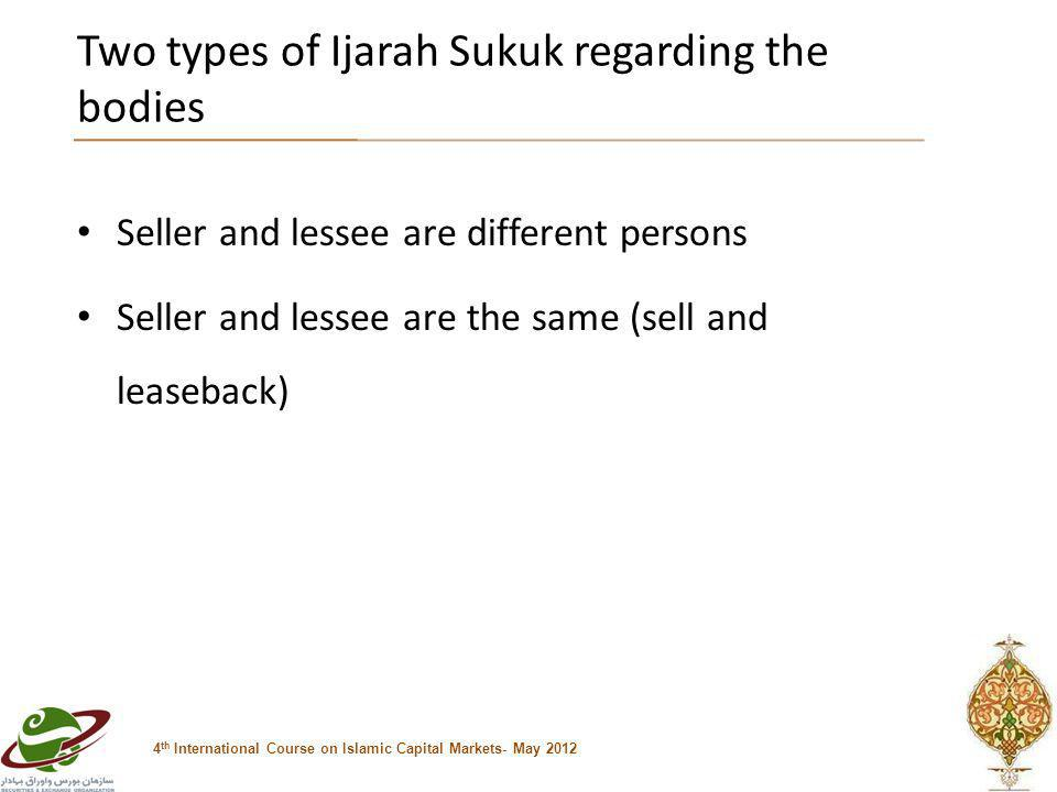 Two types of Ijarah Sukuk regarding the bodies 4 th International Course on Islamic Capital Markets- May 2012 Seller and lessee are different persons Seller and lessee are the same (sell and leaseback)