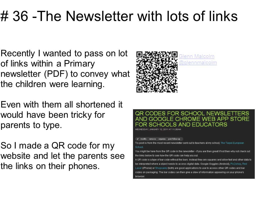 # 36 -The Newsletter with lots of links Recently I wanted to pass on lot of links within a Primary newsletter (PDF) to convey what the children were learning.