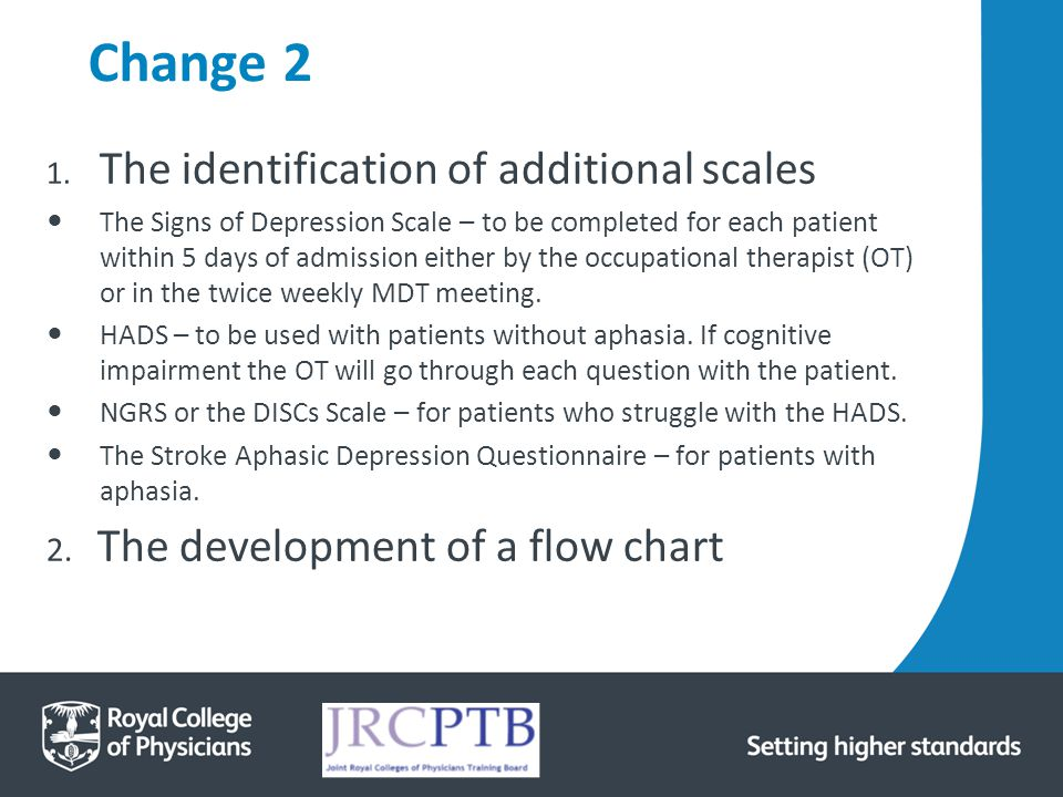 Change 2 1. The identification of additional scales The Signs of Depression Scale – to be completed for each patient within 5 days of admission either