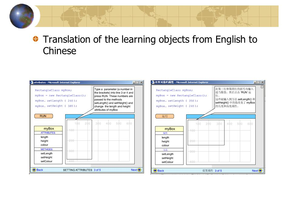 Translation of the learning objects from English to Chinese
