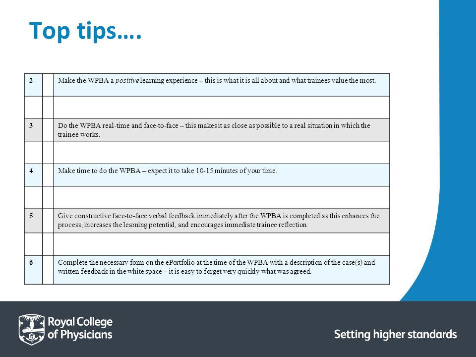 Top tips….