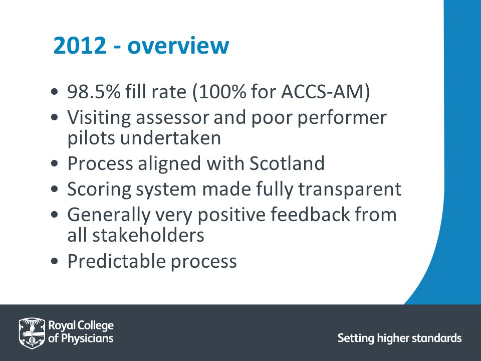2012 - overview 98.5% fill rate (100% for ACCS-AM) Visiting assessor and poor performer pilots undertaken Process aligned with Scotland Scoring system made fully transparent Generally very positive feedback from all stakeholders Predictable process