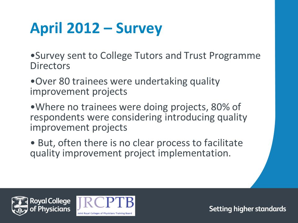 April 2012 – Survey Survey sent to College Tutors and Trust Programme Directors Over 80 trainees were undertaking quality improvement projects Where no trainees were doing projects, 80% of respondents were considering introducing quality improvement projects But, often there is no clear process to facilitate quality improvement project implementation.