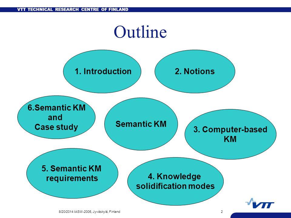 VTT TECHNICAL RESEARCH CENTRE OF FINLAND 8/20/2014 IASW-2005, Jyväskylä, Finland13 A common Semantic KMS