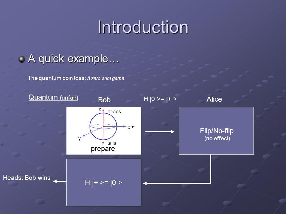 Introduction A quick example… The quantum coin toss: A zero sum game Quantum (unfair) Bob Alice Flip/No-flip (no effect) H |+ >= |0 > Heads: Bob wins prepare heads tails x y z H |0 >= |+ >