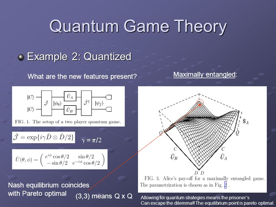 Quantum Game Theory Example 2: Quantized What are the new features present? Maximally entangled: Nash equilibrium coincides with Pareto optimal 