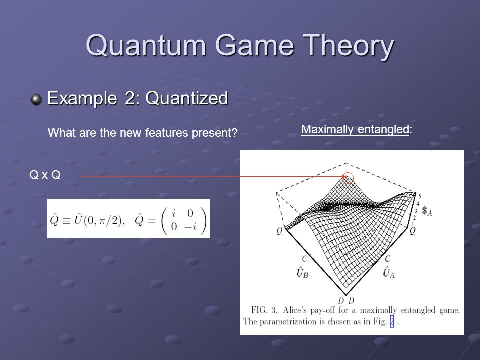 Quantum Game Theory Example 2: Quantized What are the new features present? Maximally entangled: Q x Q