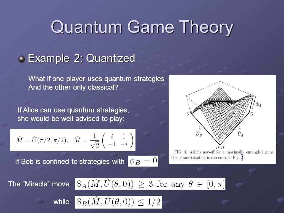 Quantum Game Theory Example 2: Quantized What if one player uses quantum strategies And the other only classical.