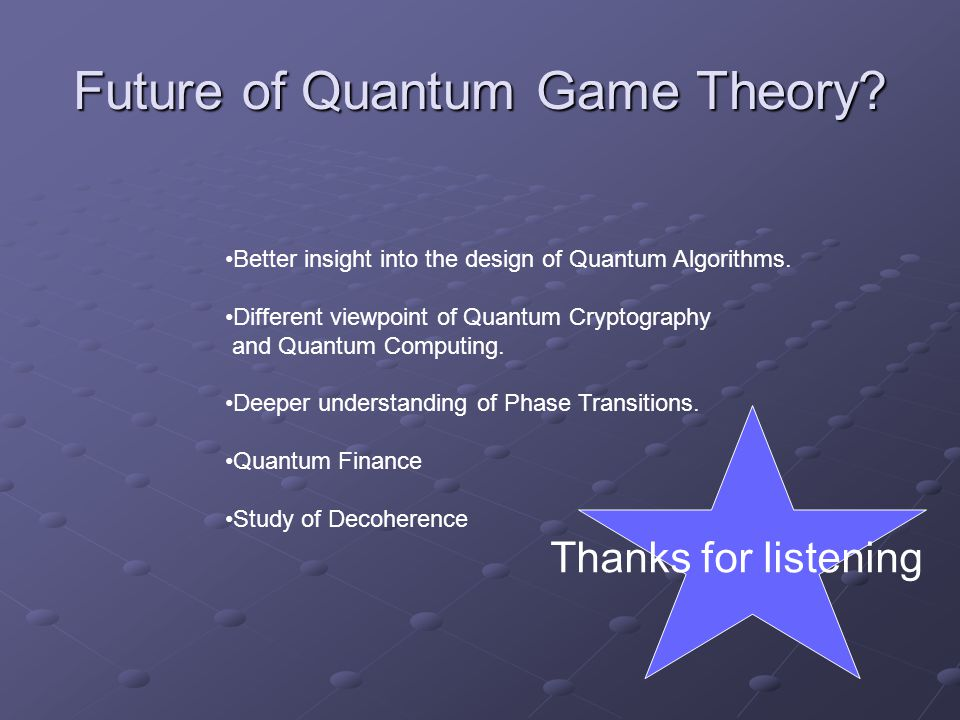 Future of Quantum Game Theory? Better insight into the design of Quantum Algorithms. Different viewpoint of Quantum Cryptography and Quantum Computing