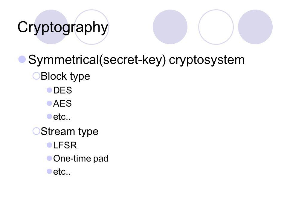 Cryptography Symmetrical(secret-key) cryptosystem  Block type DES AES etc..