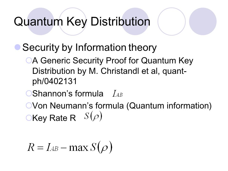 Quantum Key Distribution Security by Information theory  A Generic Security Proof for Quantum Key Distribution by M.