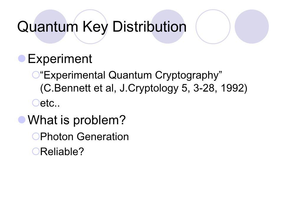 Quantum Key Distribution Experiment  Experimental Quantum Cryptography (C.Bennett et al, J.Cryptology 5, 3-28, 1992)  etc..