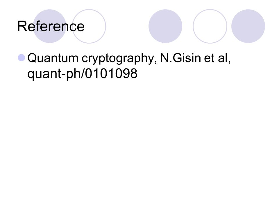 Reference Quantum cryptography, N.Gisin et al, quant-ph/