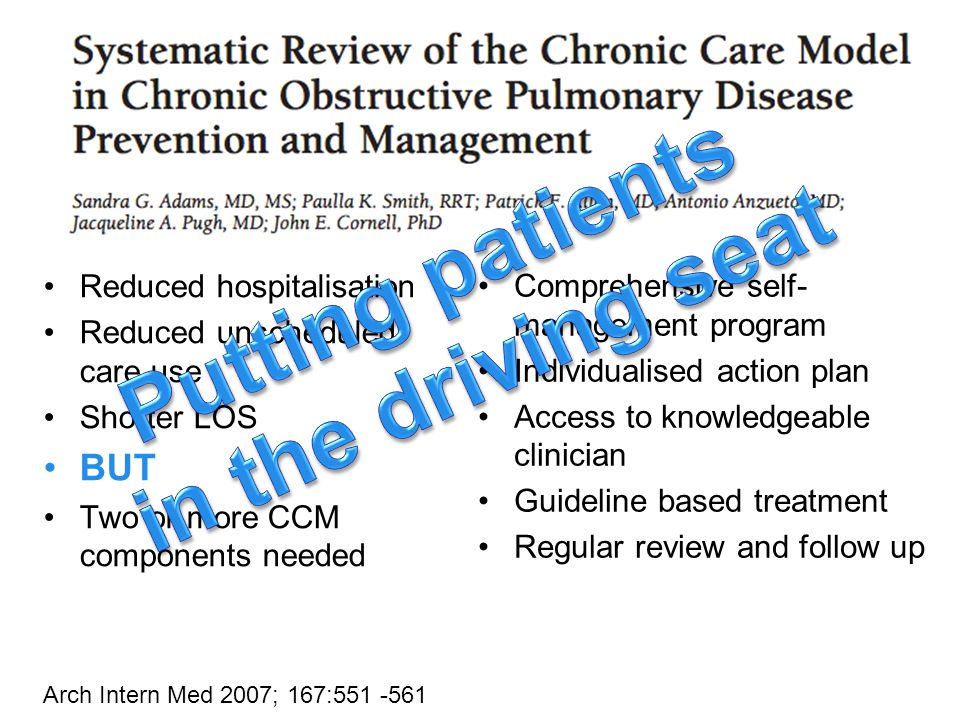 Comprehensive self- management program Individualised action plan Access to knowledgeable clinician Guideline based treatment Regular review and follow up Reduced hospitalisation Reduced unscheduled care use Shorter LOS BUT Two or more CCM components needed Arch Intern Med 2007; 167:551 -561
