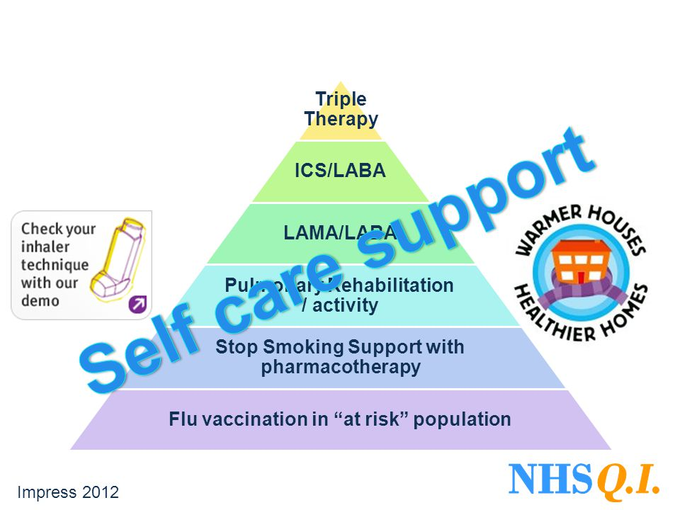 Triple Therapy ICS/LABA LAMA/LABA Pulmonary Rehabilitation / activity Stop Smoking Support with pharmacotherapy Flu vaccination in at risk population Impress 2012