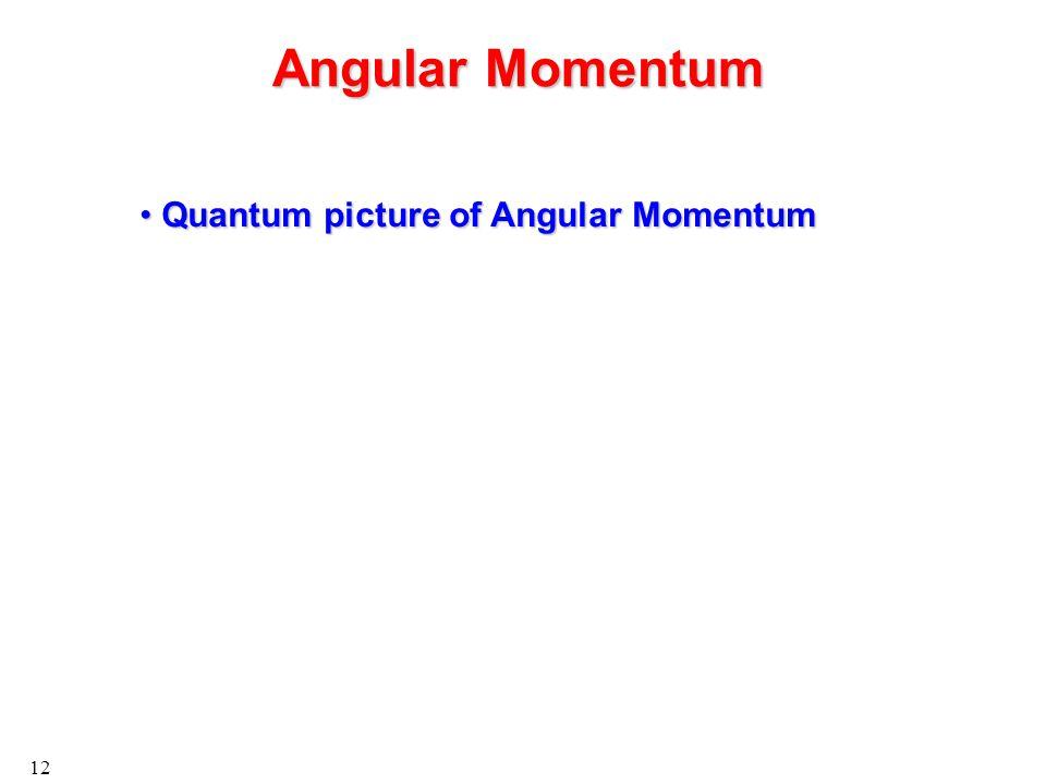 12 Angular Momentum Quantum picture of Angular Momentum Quantum picture of Angular Momentum