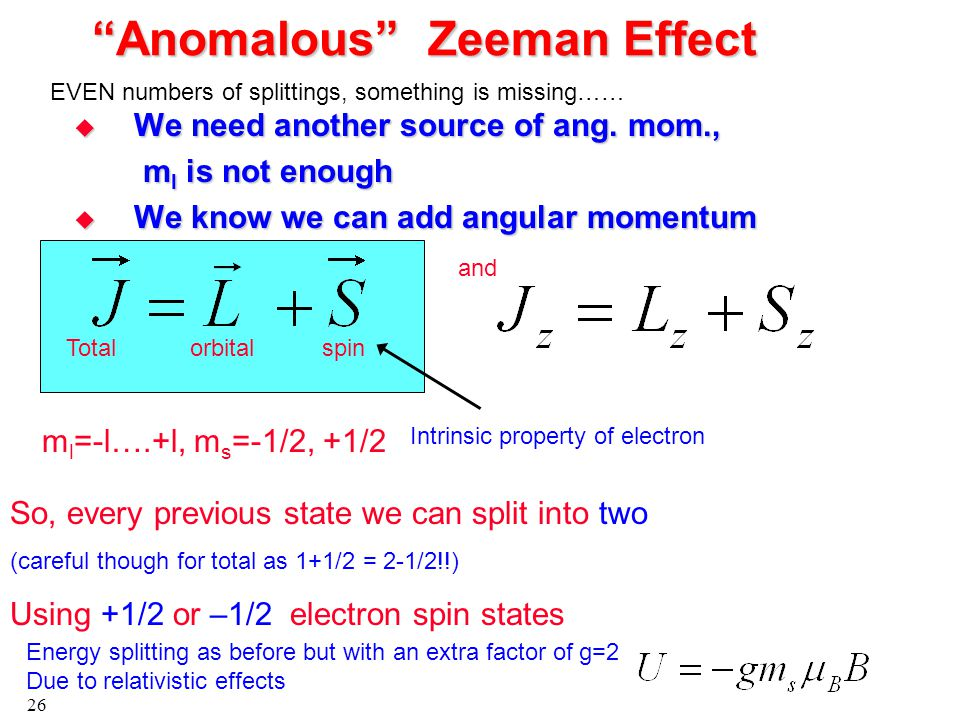 26 Anomalous Zeeman Effect  We need another source of ang.