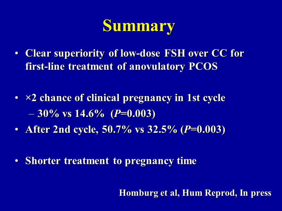 Summary Clear superiority of low-dose FSH over CC forClear superiority of low-dose FSH over CC for first-line treatment of anovulatory PCOS ×2 chance