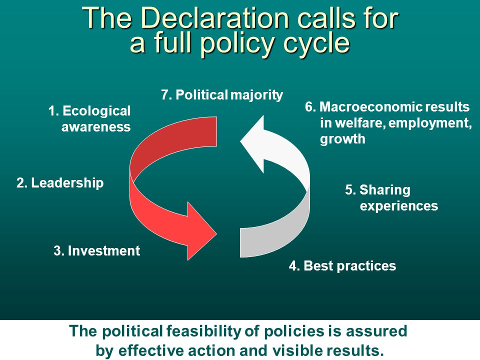 Economics Web Institute 6 The Declaration calls for a full policy cycle The political feasibility of policies is assured by effective action and visible results.