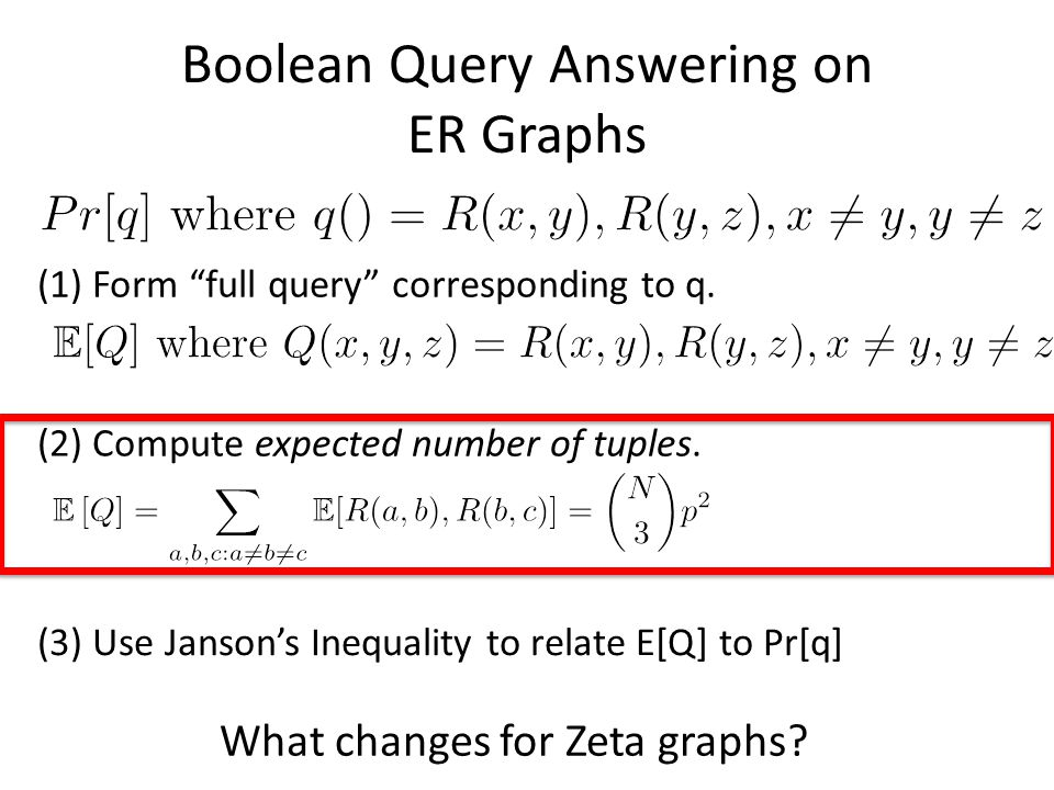 Boolean Query Answering on ER Graphs (2) Compute expected number of tuples.