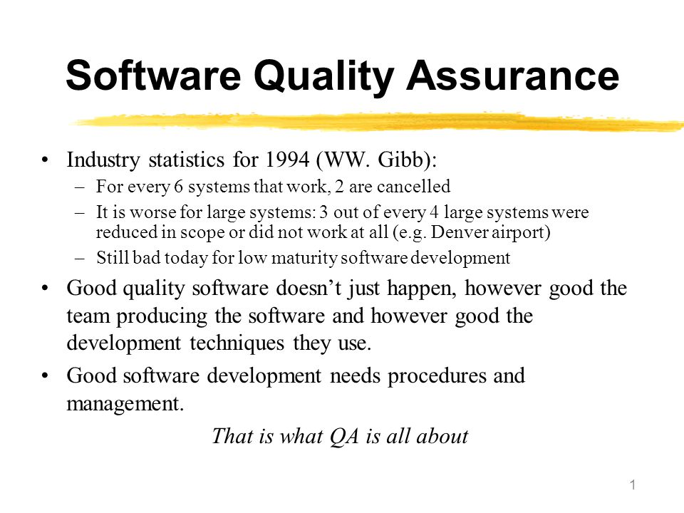 12 Software Engineering Institute's Capability-Maturity Model (SEI CMM) Level 1 Initial Unstable, ad-hoc processes; project success depends on staff skills/experience ('heroics') Level 2 Repeatable Stable project planning, tracking of cost/schedule/ functionality, problem identification, project standards; can 'repeat the success of previous projects' Level 3 Defined Stable process model including entry/exit criteria; reviews, quality tracking, full process training program Level 4 Managed Management by measurement: quantitative targets for each project; productivity and quality measures; measurement database Level 5 Optimizing Organisational commitment to continuous process improvement; defect prevention