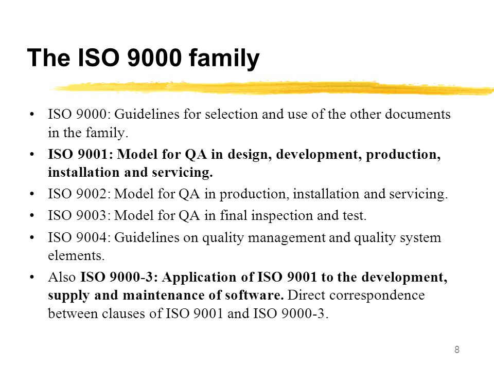 9 Some example sections from ISO 9000-3 Management Responsibility.