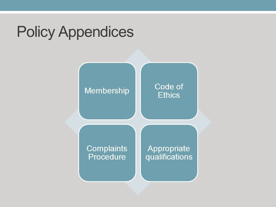 Policy Appendices Membership Code of Ethics Complaints Procedure Appropriate qualifications