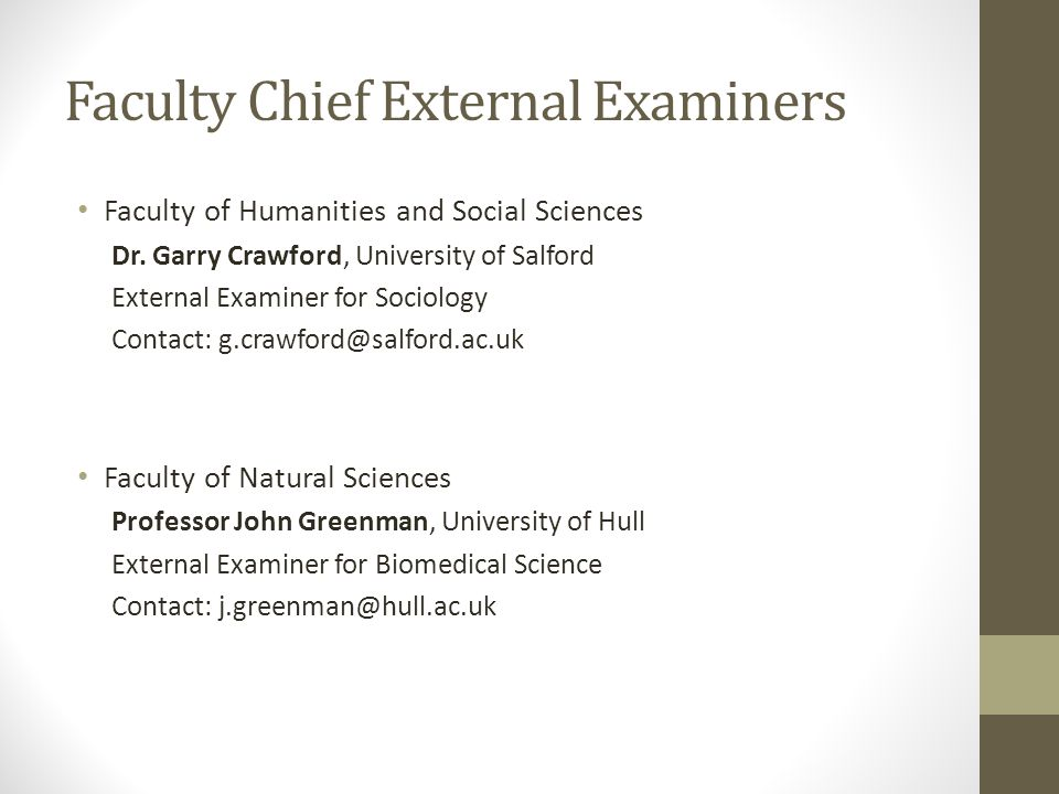 Faculty Chief External Examiners Faculty of Humanities and Social Sciences Dr. Garry Crawford, University of Salford External Examiner for Sociology C