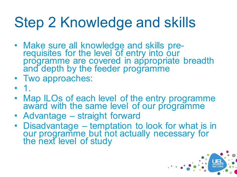 Step 2 Knowledge and skills Make sure all knowledge and skills pre- requisites for the level of entry into our programme are covered in appropriate br