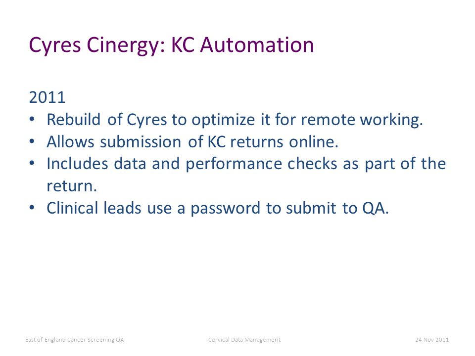 Cyres Cinergy: KC Automation 2011 Rebuild of Cyres to optimize it for remote working.