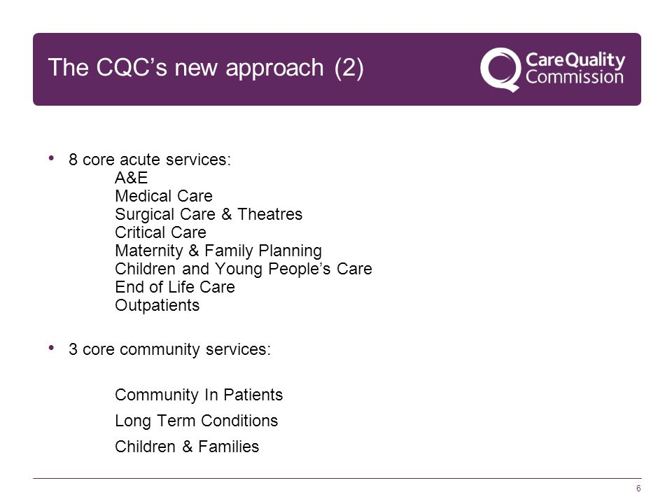 Ratings CQC has been tasked with rating all acute trusts by December 2015 as Outstanding Good Requires Improvement Inadequate We are taking a 'bottom up' approach – rating each domain (e.g.
