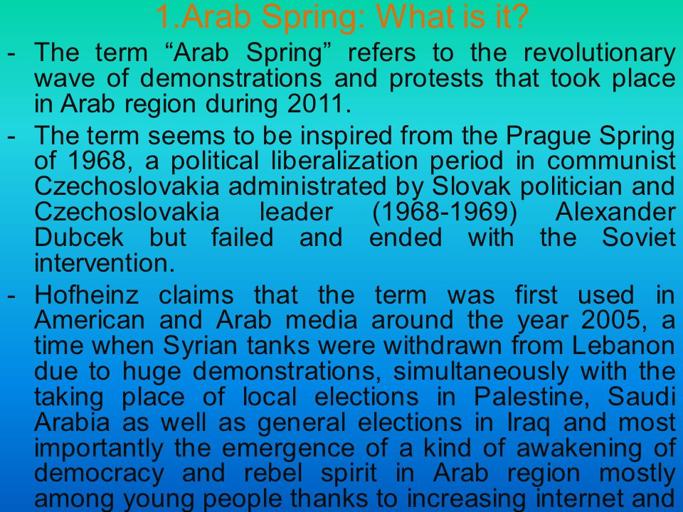 1.Arab Spring: What is it.