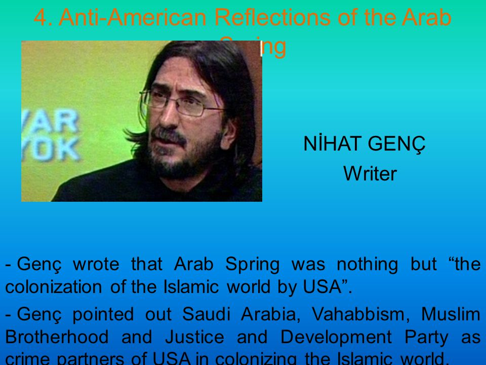 "4. Anti-American Reflections of the Arab Spring NİHAT GENÇ Writer - Genç wrote that Arab Spring was nothing but ""the colonization of the Islamic world"