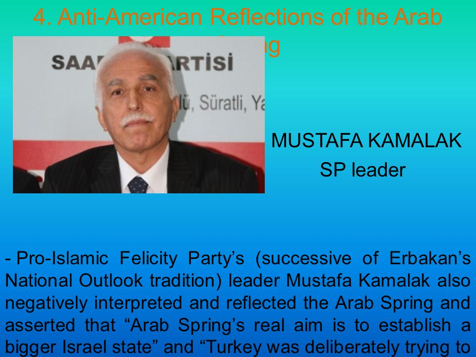 4. Anti-American Reflections of the Arab Spring MUSTAFA KAMALAK SP leader - Pro-Islamic Felicity Party's (successive of Erbakan's National Outlook tra