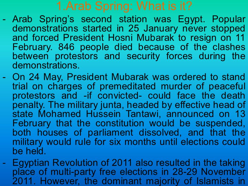 1.Arab Spring: What is it. -Arab Spring's second station was Egypt.