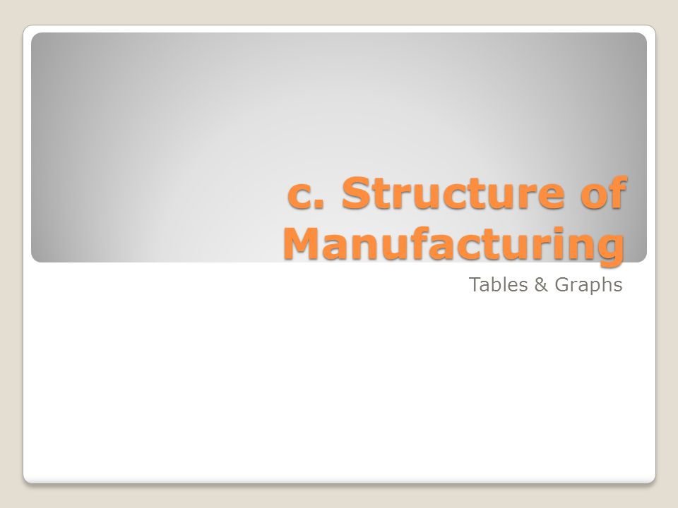c. Structure of Manufacturing Tables & Graphs